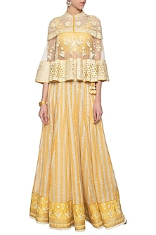 Yellow banarasi lehenga skirt with blouse and cape by Poonam Dubey Designs