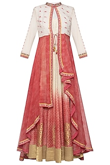 Ivory and red anarkali gown with jacket by Poonam Dubey Designs