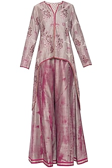 Wine and grey printed sharara set with jacket by Poonam Dubey Designs