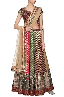 Multi colored banarasi lehenga set by Poonam Dubey Designs