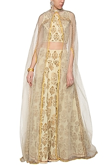 Ivory lehenga skirt with crop top and jacket by Poonam Dubey Designs
