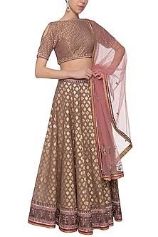 Pink banarasi lehenga set by Poonam Dubey Designs
