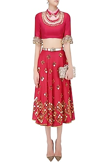 Red and Gold Heart Embroidered Half Lehenga and Blouse Set by Papa Don't Preach by Shubhika