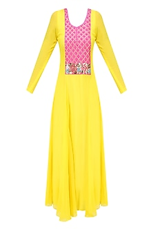 Canary Yellow and Pink Beads and Coin Work Anarkali Set