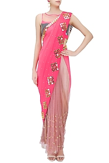 Rose Beige and Hot Pink Hearts Embroidered Saree and Blouse Set by Papa Don't Preach by Shubhika