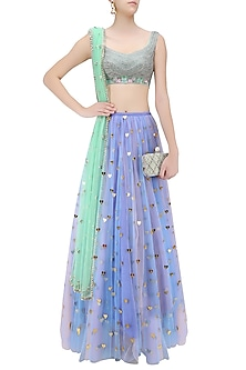 Sky Blue Lasercut Heart Embroidered Motifs Lehenga with Green Blouse by Papa Don't Preach by Shubhika