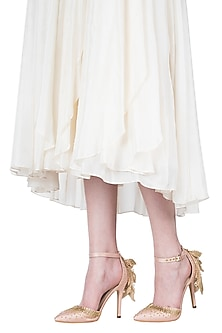 Champagne gold embroidered ruffle stilettos