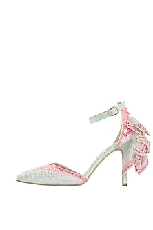 Mint green embroidered stilettos by Papa Don't Preach by Shubhika