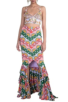 Multi Colored Printed Ruffled Skirt With Embroidered Bralette by Papa Don't Preach by Shubhika
