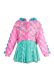 Mint Embroidered Leheriya Dress With Bubblegum Pink Bomber Jacket by Papa Don't Preach by Shubhika