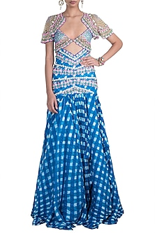 Indigo Embroidered Leheriya Drape Lehenga Set by Papa Don't Preach by Shubhika