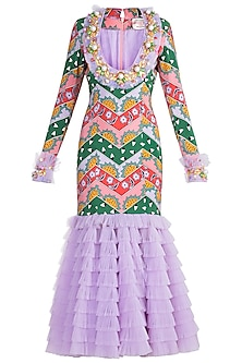Pink & Green Embroidered & Printed Ruffled Bodycon Dress by Papa Don't Preach by Shubhika