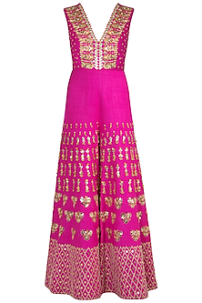 Hot Pink Embroidered Jumpsuit by Papa Don't Preach by Shubhika