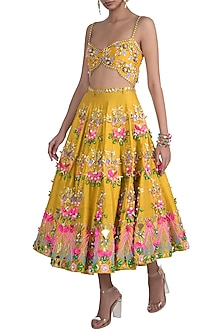 Mustard Embroidered Short Lehenga Set by Papa Don't Preach by Shubhika
