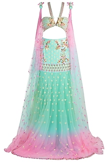 Light Blue & Pink Embroidered Ombre Saree Set by Papa Don't Preach by Shubhika