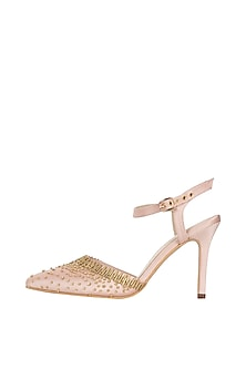 Champagne gold embroidered mule stilettos by Papa Don't Preach by Shubhika