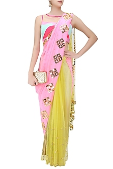 Yellow and Baby Pink Half and Half Heart Motifs Saree by Papa Don't Preach by Shubhika