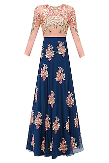 Imperial Blue Rose Motifs Lehenga, Peach Bodysuit and Prestitched Dupatta Set by Papa Don't Preach by Shubhika