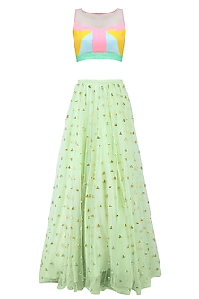 Mint Green and Gold Motifs Lehenga Skirt with Colorblock Crop Top by Papa Don't Preach by Shubhika
