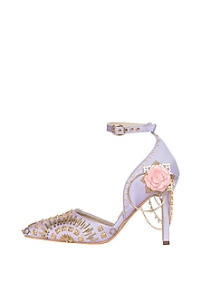 Lilac embroidered stilettos by Papa Don't Preach by Shubhika