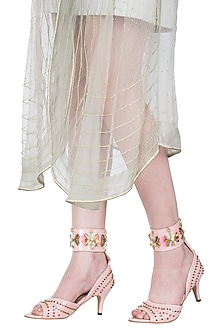 Peach metallic heels by Papa Don't Preach by Shubhika