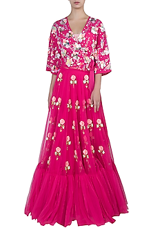 Hot pink embroidered lehenga skirt with jacket and bustier by PAPA DON'T PREACH BY SHUBHIKA