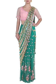Forest green embroidered pre-stitched saree set by PAPA DON'T PREACH BY SHUBHIKA