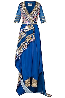 Blue Embroidered Half Peplum Jacket with Dhoti Pants and Belt by Papa Don't Preach by Shubhika