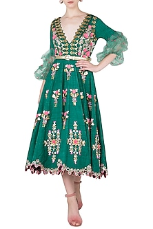 Bottle Green Embroidered Midi Dress by Papa Don't Preach by Shubhika