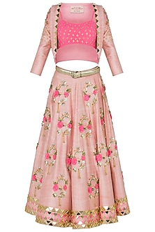 Blush Pink Embroidered Short Lehenga with Jacket and Bustier