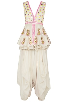 White Embroidered Peplum Top with Dhoti Pants by Papa Don't Preach by Shubhika