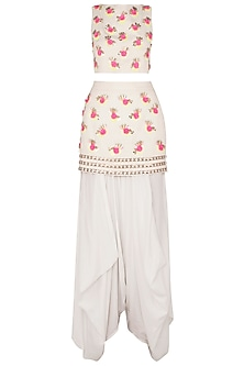 White Embroidered Crop Top with Skirt and Dhoti Pants