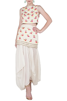 White Embroidered Crop Top with Skirt and Dhoti Pants by Papa Don't Preach by Shubhika