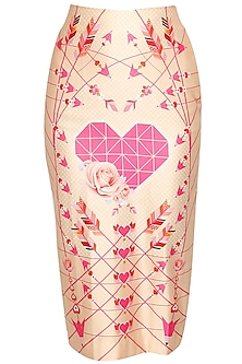Peach heart and rose printed pencil skirt