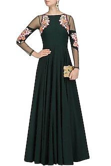 Bottle Green Acrylic Embroidered Cold Shoulder Gown by Papa Don't Preach by Shubhika
