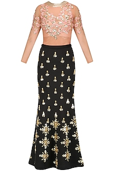 Black Acrylic Embroidered Mermaid Skirt with Peach Bodysuit