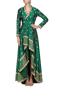 Emerald Green Lotus and Temple Embroidered Jacket by Papa Don't Preach by Shubhika