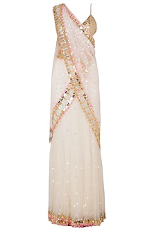 Ivory Tulle Stitched Saree and Golden Bralette
