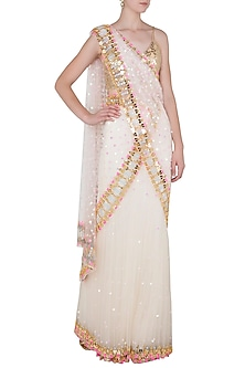 Ivory Tulle Stitched Saree and Golden Bralette by Papa Don't Preach by Shubhika