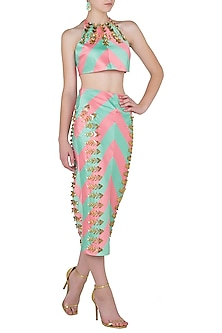 Mint Blush Printed Crop Top and Sequin Embroidered Pencil Skirt by Papa Don't Preach by Shubhika