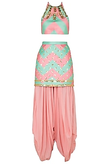 Mint Blush Deconstructed Striped Crop Top and Matching Embroidered Skirt and Dhoti Pants by Papa Don't Preach by Shubhika