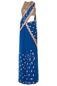 Blue Stitched Saree and Sequins Embroidered Blouse by Papa Don't Preach by Shubhika