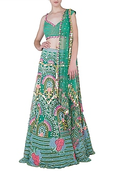 EMERALD GREEN TULLE LEHENGA AND EMBROIDERED BLOUSE SET by PAPA DON'T PREACH BY SHUBHIKA