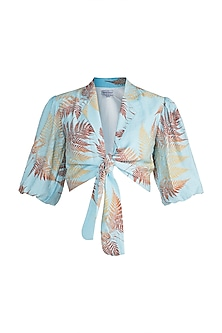 Blue Gathered Printed Tie-Up Shirt by Pernia Qureshi