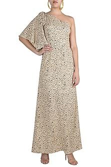 Black & Beige Printed One Shoulder Maxi Dress by Pernia Qureshi