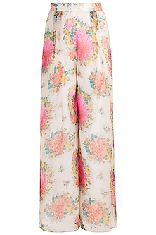 Pink Printed High Waisted Pants by Pernia Qureshi