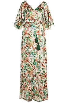 Green Printed Kaftan Dress by Pernia Qureshi
