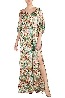 Green Printed Kaftan Dress by Pernia Qureshi