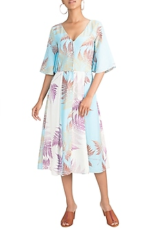 Blue & Ivory Printed Button Down Dress by Pernia Qureshi