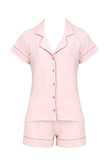 Baby Pink and Red Lace Trims Nightuit Shirt and Shorts Set